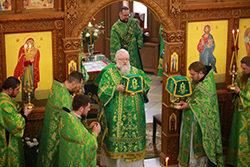 Архиерейское богослужение на праздник Пятидесятницы в Свято-Троицком храме